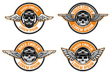 Fototapety Racer emblems. Set of winged emblems with skulls. Design elements for biker club, racer community logo, label, sign. Vector illustration