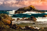 Dramatic sunset with stormy Atlantic waters in Arikok national park, Aruba. - 170186926