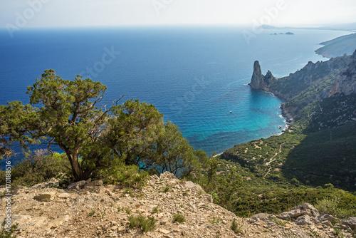 Aluminium Blauwe jeans Sardegna, panorama da Punta Giradili, Baunei