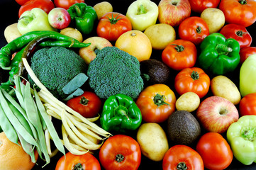 Fresh vegetable and fruit as food background