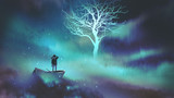 Fototapety man on a boat in the outer space with clouds looking at glowing tree with stars, digital art style, illustration painting