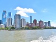 Downtown New York City skyline with the Hudson River in the foreground