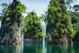 Closeup tranquil lake and Magical landscape with limestone mountain - 170209386