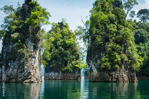 Plexiglas Guilin Closeup tranquil lake and Magical landscape with limestone mountain