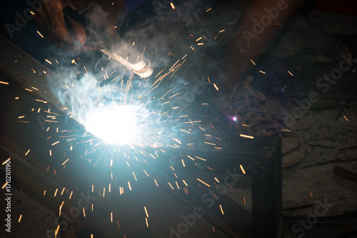 Foto op Aluminium Heelal Technicians are welding steel.
