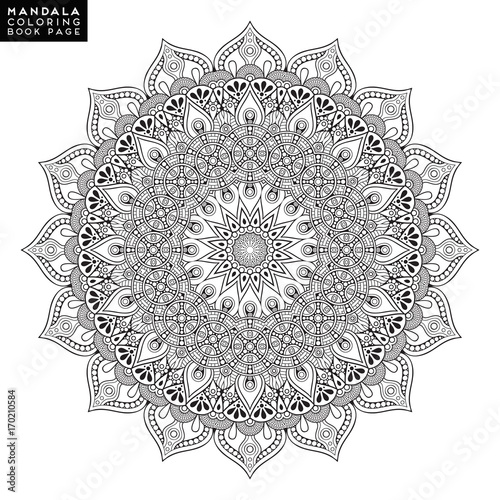 Flower Mandala. Vintage decorative elements. Oriental pattern, vector illustration. Islam, Arabic, Indian, moroccan,spain, turkish, pakistan, chinese, mystic, ottoman motifs. Coloring book page - 170210584