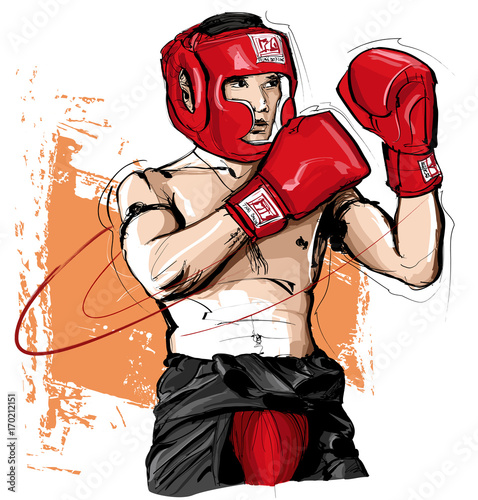 Tuinposter Art Studio Thai boxing man fighting