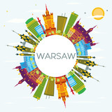 Warsaw Skyline with Color Buildings, Blue Sky and Copy Space. - 170213158