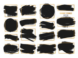 Fototapety Vector Strokes. Abstract Backhground Set. Black and gold ink paints