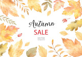 Watercolor vector autumn banner sales isolated on white background. - 170216753