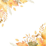 Watercolor vector frame of leaves and branches isolated on white background. - 170216777