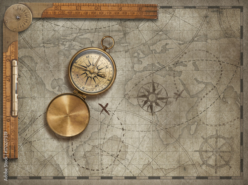 Old map background with compass and ruler. Adventure and travel concept. 3d illustration.