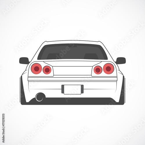 Fotobehang Auto Vector sport japan car. Car sketch. Back view.