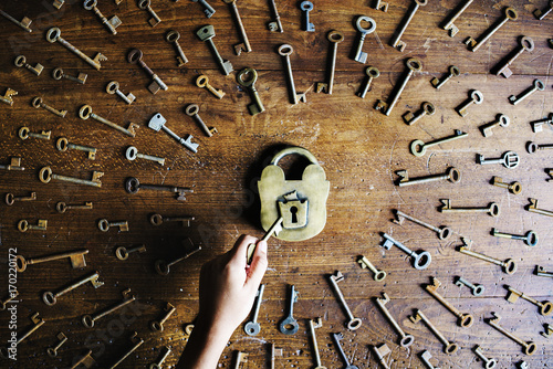 A key is around a lock плакат