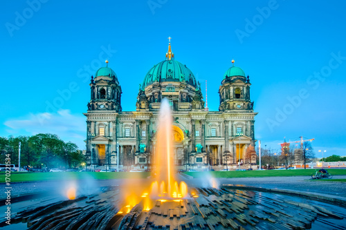 Night at Berlin Cathedral or Berliner Dom in Berlin city, Germany Poster