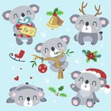 vector cartoon koala christmas kawaii set