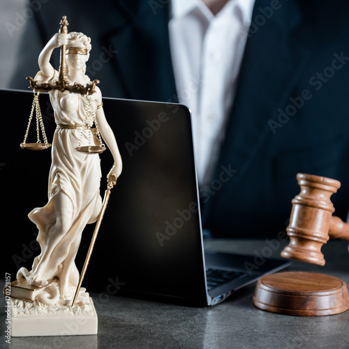 Poster Justice and Law concept. Male lawyer in the office