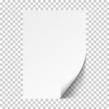 White sheet of paper.Realistic vector on transparent background EPS10 - 170228355