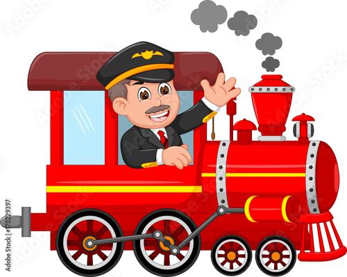 cheerful cartoon train with smile conductor waving