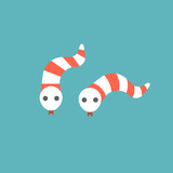 cute striped snake in red and white icon, flat design vector