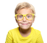 Happy cute boy with yellow glasses