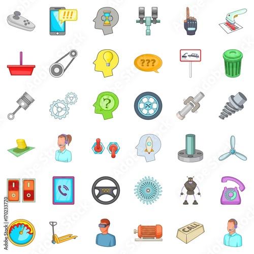 Fotobehang Auto Car garage icons set, cartoon style
