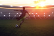 Soccer player is kicking a ball to the net in stadium at sunset.