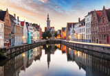 Bruges, Belgium - Scenic cityscape with canal Spiegelrei and Jan Van Eyck Square - 170234378