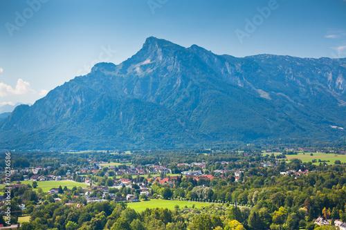 Aluminium Blauwe jeans View of Austrian Alps near Salzburg
