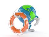 World globe character holding life buoy