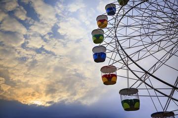 Colourful ferris wheel carriages at an amusement park Sydney Australia
