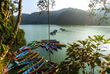 Fototapety Boats on Phewa Lake in Pokhara, Nepal