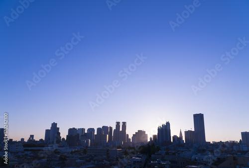 Fotobehang Tokio 東京風景 新宿高層ビル群 夜明け 日の出