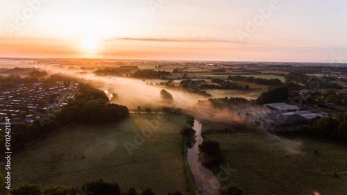 Foto op Plexiglas Gras Sunrise over fields in denmark