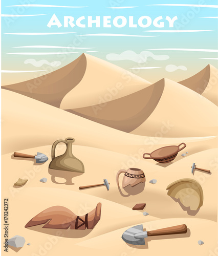 Archeology and paleontology concept archaeological excavation Web site page and mobile app design vector element. ancient history achaeologists unearth ancient artifacts vector illustration
