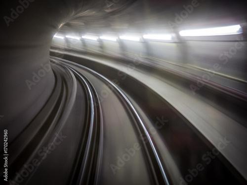 Fotobehang Nacht snelweg Railway tunnel