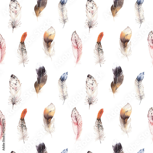 Watercolor natural birds feather boho pattern. Bohemian Seamless texture with hand drawn feathers. Feather boho illustration for your design. Bright blue colors decoration. - 170244773