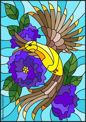 ilustracja-w-stylu-witrazu-z-pieknym-jasnym-ptakiem-i-oddzial-kwitnacej-rosliny-na-tle-nieba
