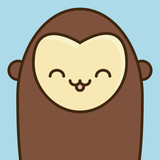 cute monkey icon over blue background colorful design vector illustration
