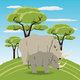 Rhinoceroses icon over africa jungles landscape colorful design vector illustration