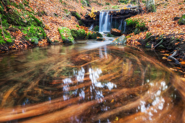 Waterfall in colorful autumn forest