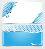 Oktoberfest Gutschein Karte mit Schleife und Rautenmuster blau weiss - 170257759