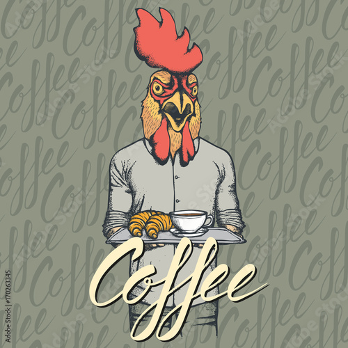 Vector Illustration of rooster with croissant and coffee