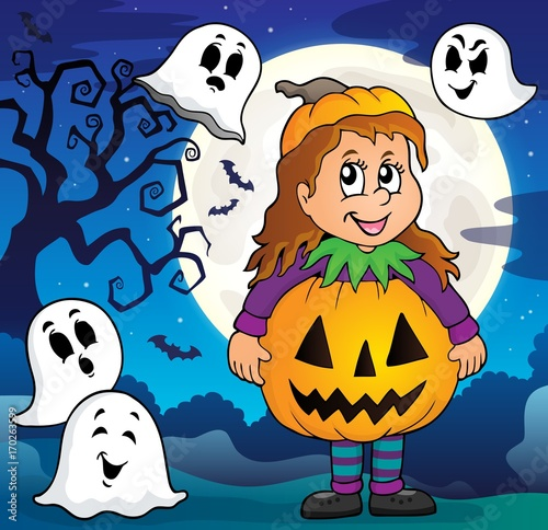 Aluminium Voor kinderen Girl in Halloween costume theme image 3