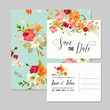 Set of Wedding Cards with Lily Flowers and Orchids. Save the Date, Baby Shower Decoration in vector