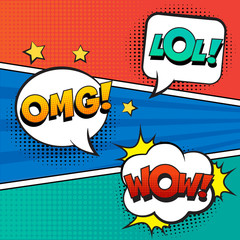 Stylish retro comic speech bubbles set on colorful background. Expression text LOL, OMG, WOW. Vector illustration, vintage design, pop art style.
