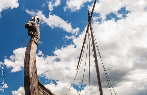 head of a dragon on the front of the Viking ship Drakkar Poster