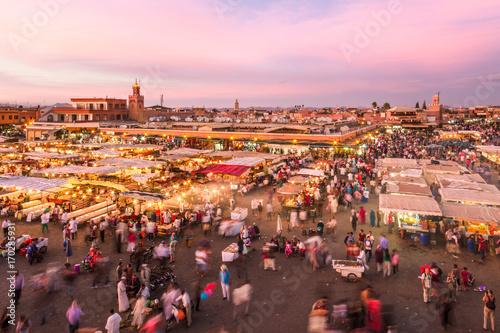 Fotobehang Marokko Jamaa el Fna market square, Marrakesh, Morocco, north Africa. Jemaa el-Fnaa, Djema el-Fna or Djemaa el-Fnaa is a famous square and market place in Marrakesh's medina quarter.
