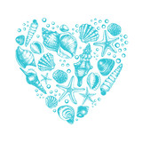 Heart shape Composition with different types mollusk sea shells, starfish and pebble. Marine Ink hand drawn elements for design. Template for cards, banners, posters. Vector illustration. - 170290947