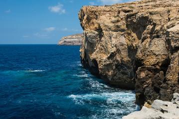 Blue hole and the collapsed Azure window. Gozo, Malta